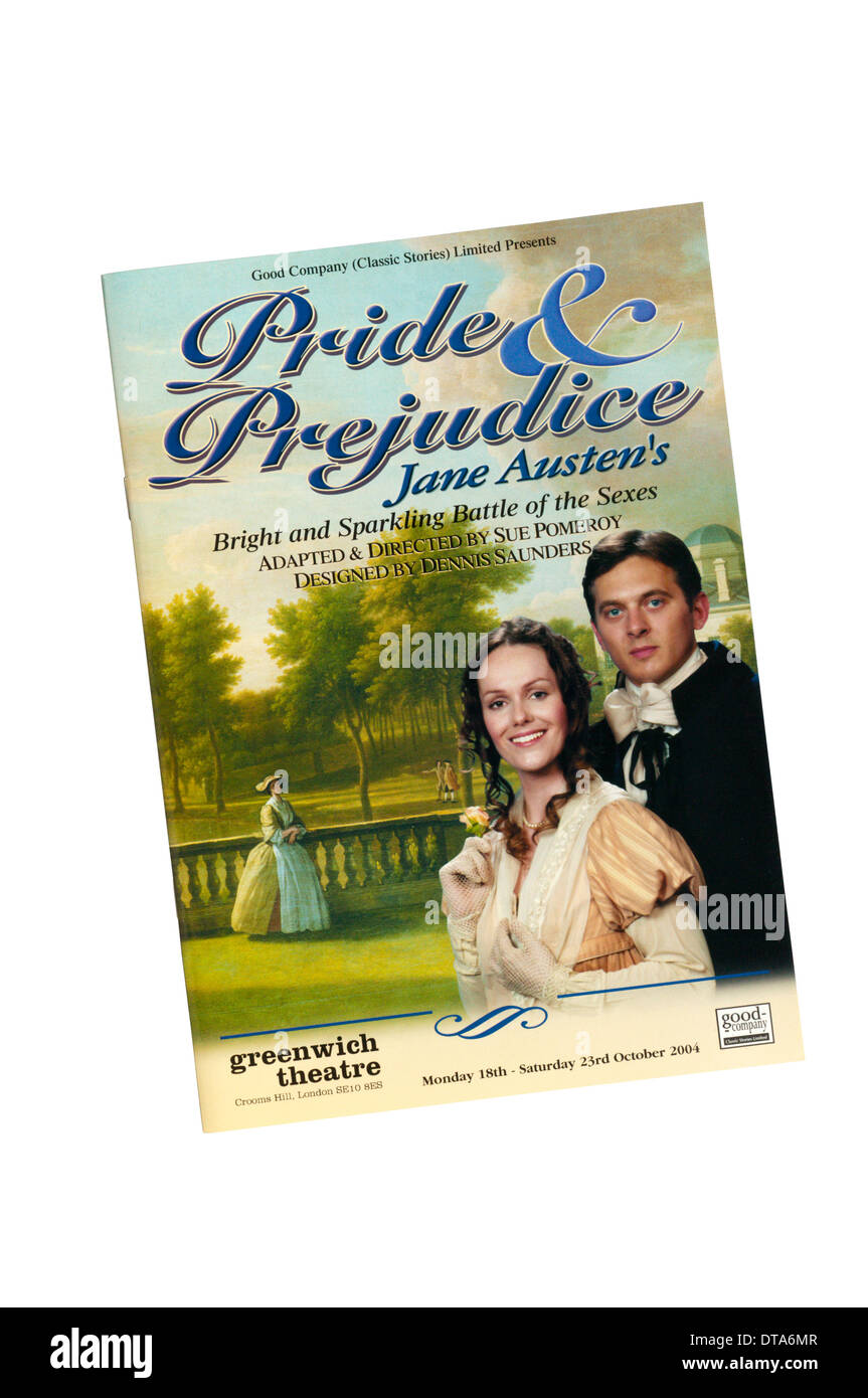Programme for the 2004 Good Company production of Pride & Prejudice by Jane Austen, adapted by Sue Pomeroy, at Greenwich Theatre - Stock Image