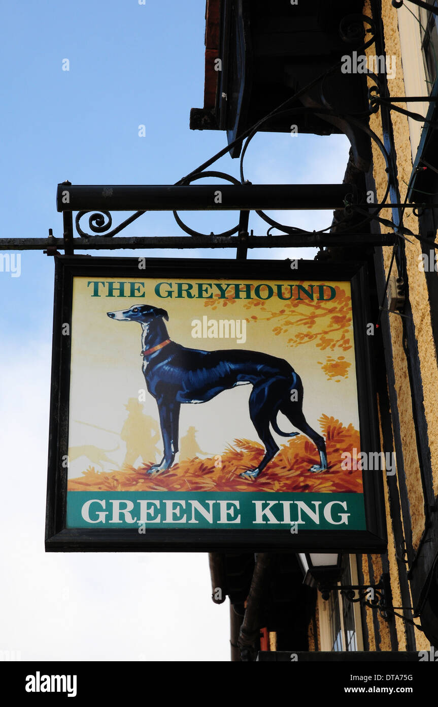 Sign for The Greyhound Public House, Lavenham, Suffolk. Stock Photo