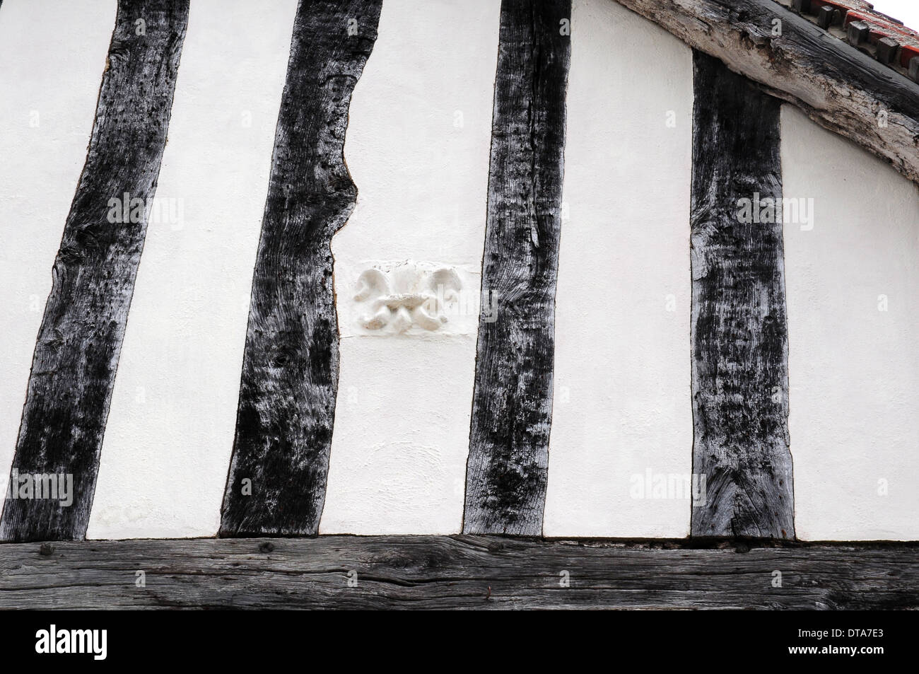 Fleur de lis, Wool merchant's mark, on the wall of a timber framed building in Lavenham, Suffolk. - Stock Image