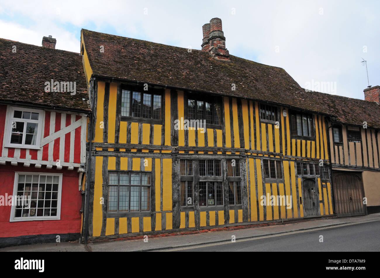 Yellow painted timberframed house, Lavenham, Suffolk. Stock Photo