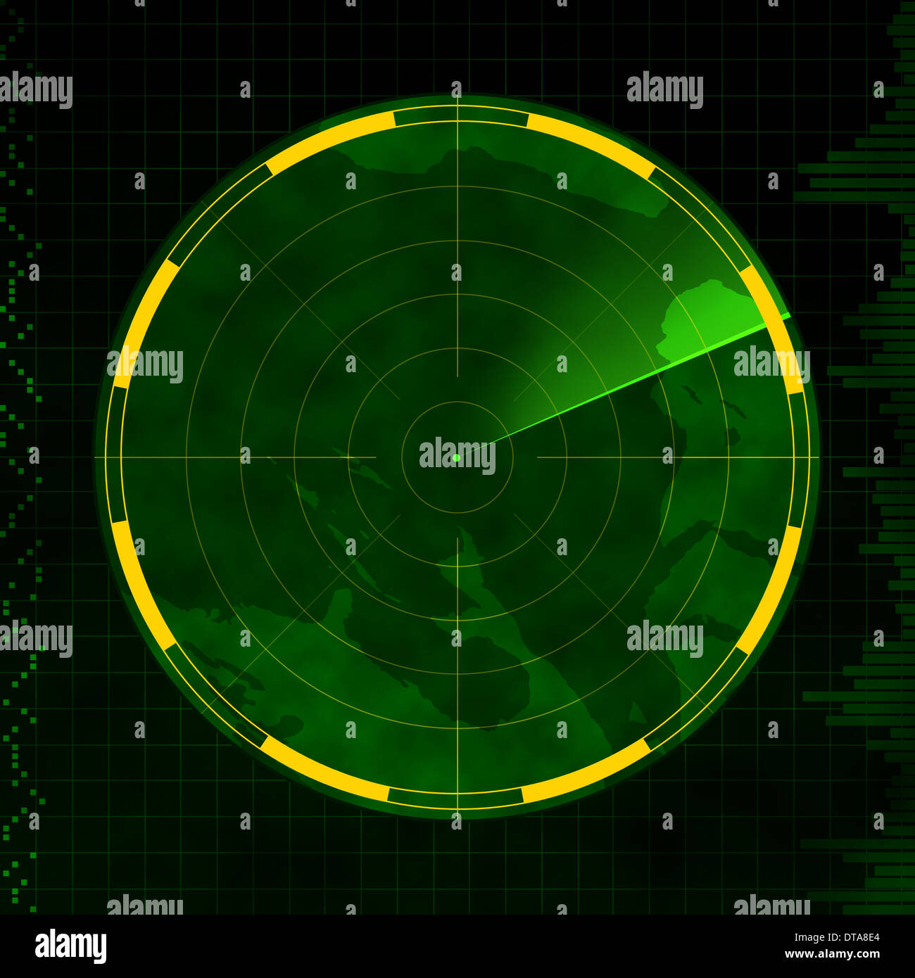 Radar with an empty screen and green sweeping arm. - Stock Image