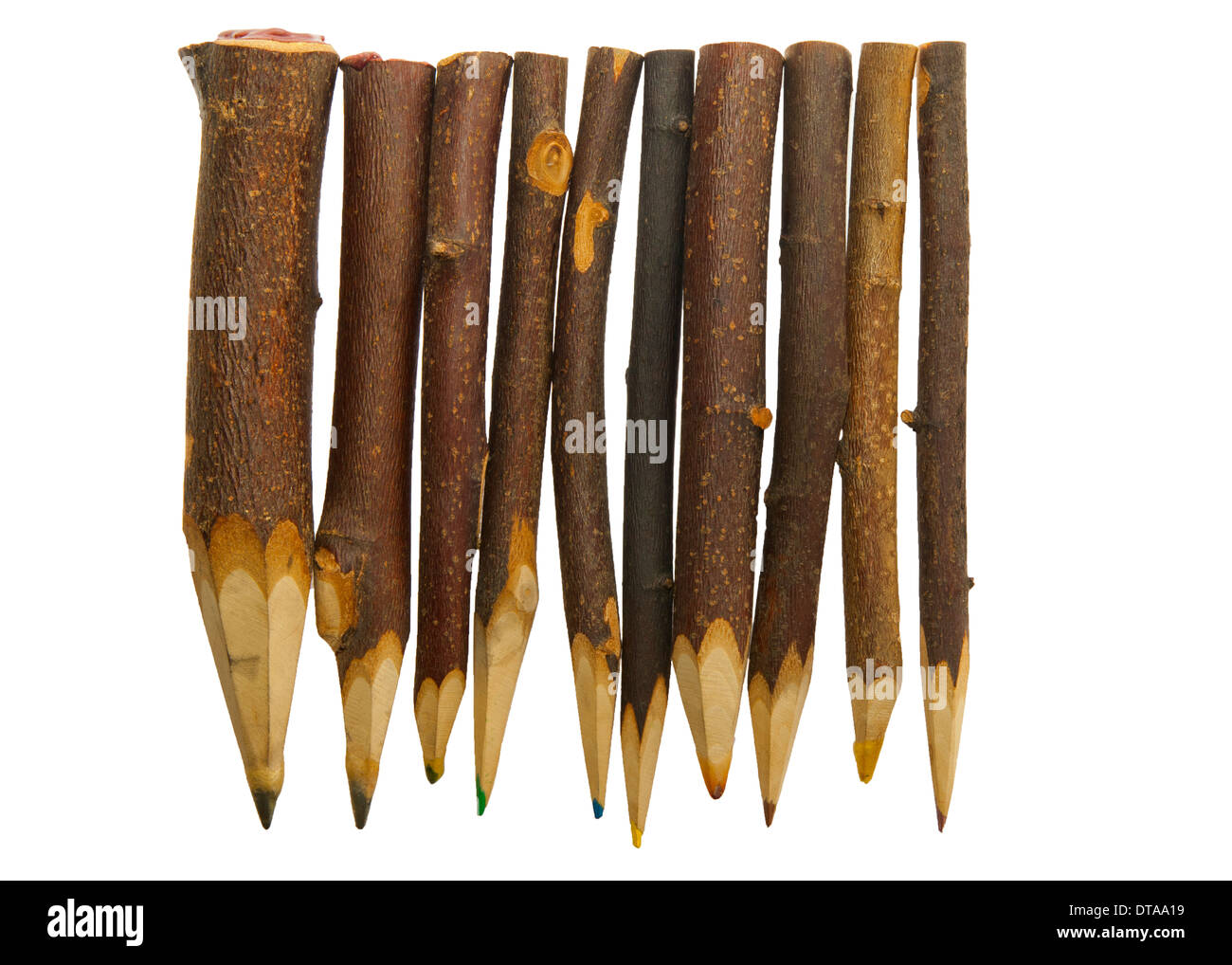 Unique sharp wooden Pencils isolated on white - Stock Image