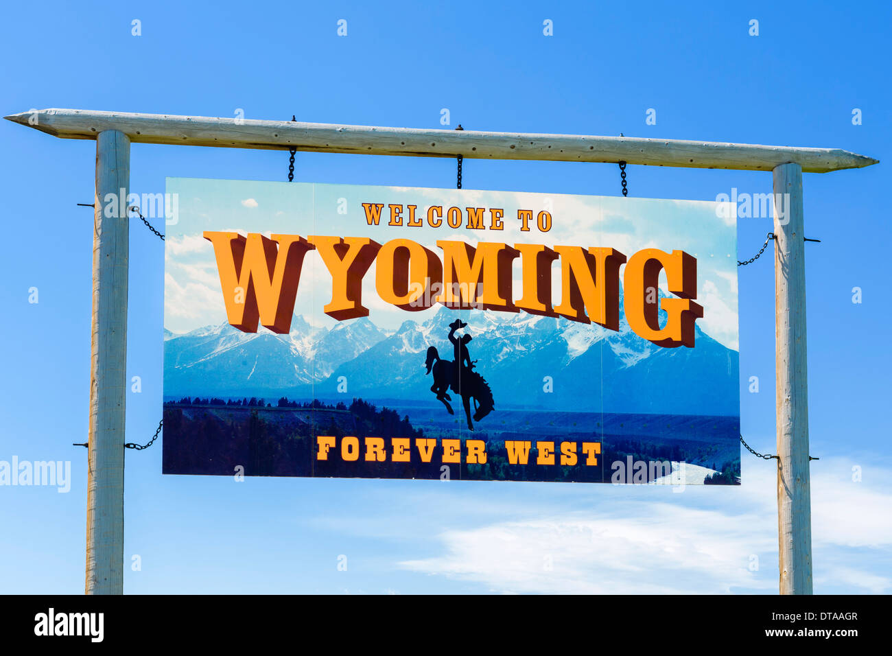 Welcome to Wyoming sign, USA - Stock Image