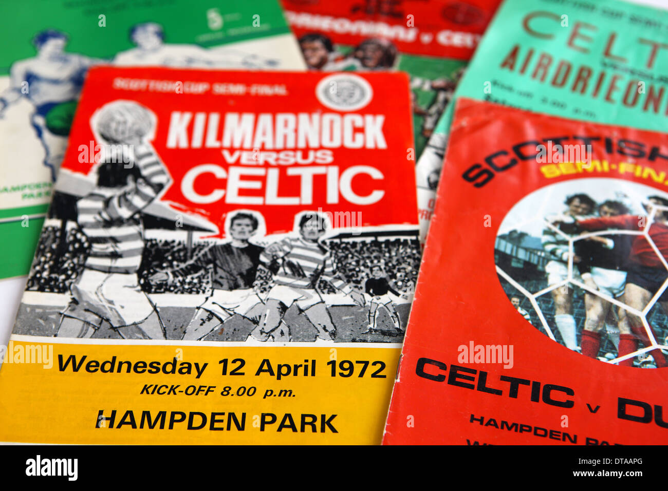 Scottish Cup Semi Final and Finals programmes from the 1970's - Stock Image