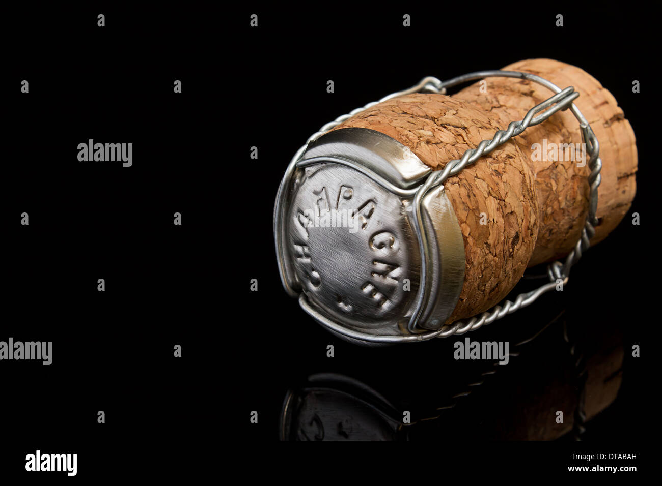 champagne Cork a great symbol for high society or concept for prestige or upper class status - Stock Image
