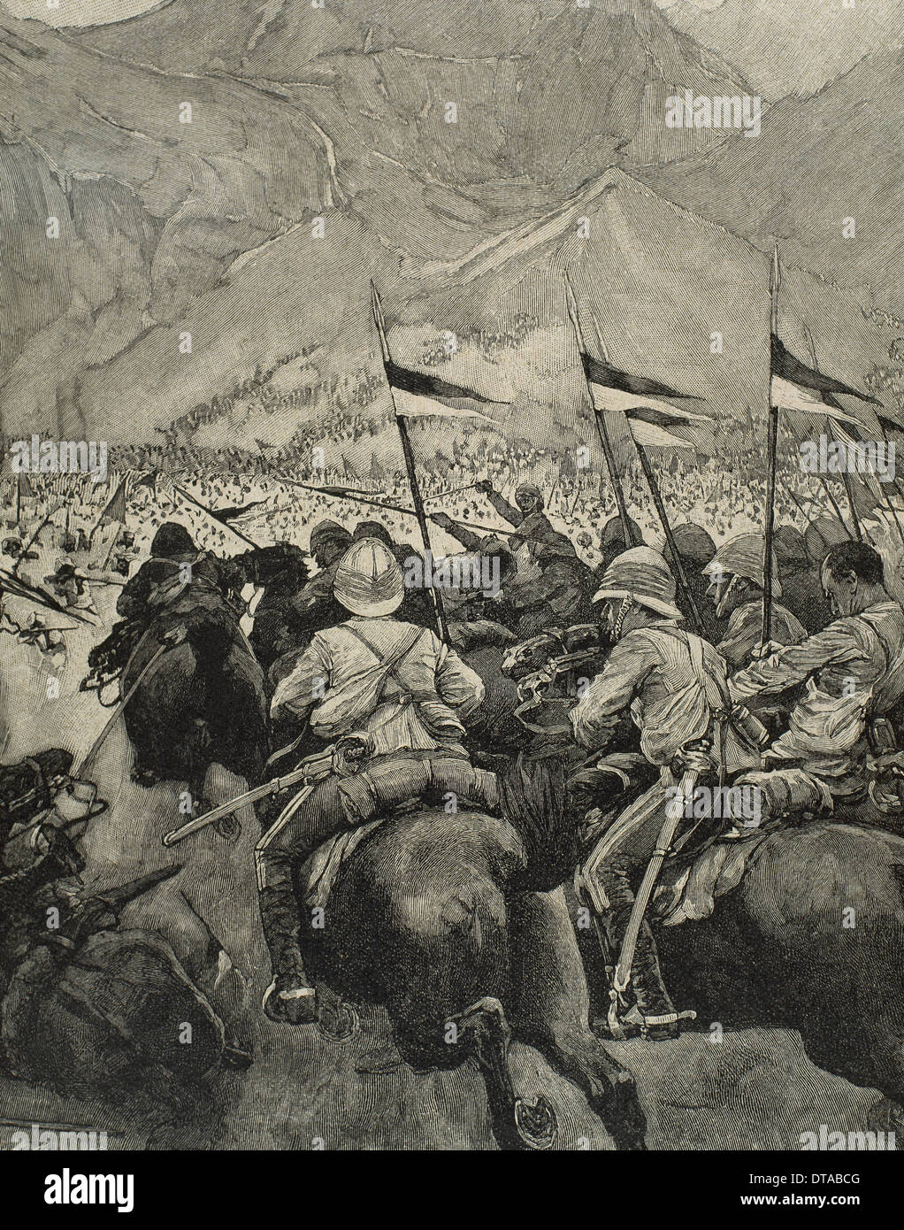 Africa. Colonialism. Charging of the English cavalry. Engraving in The Iberian Illustration, 1898. - Stock Image