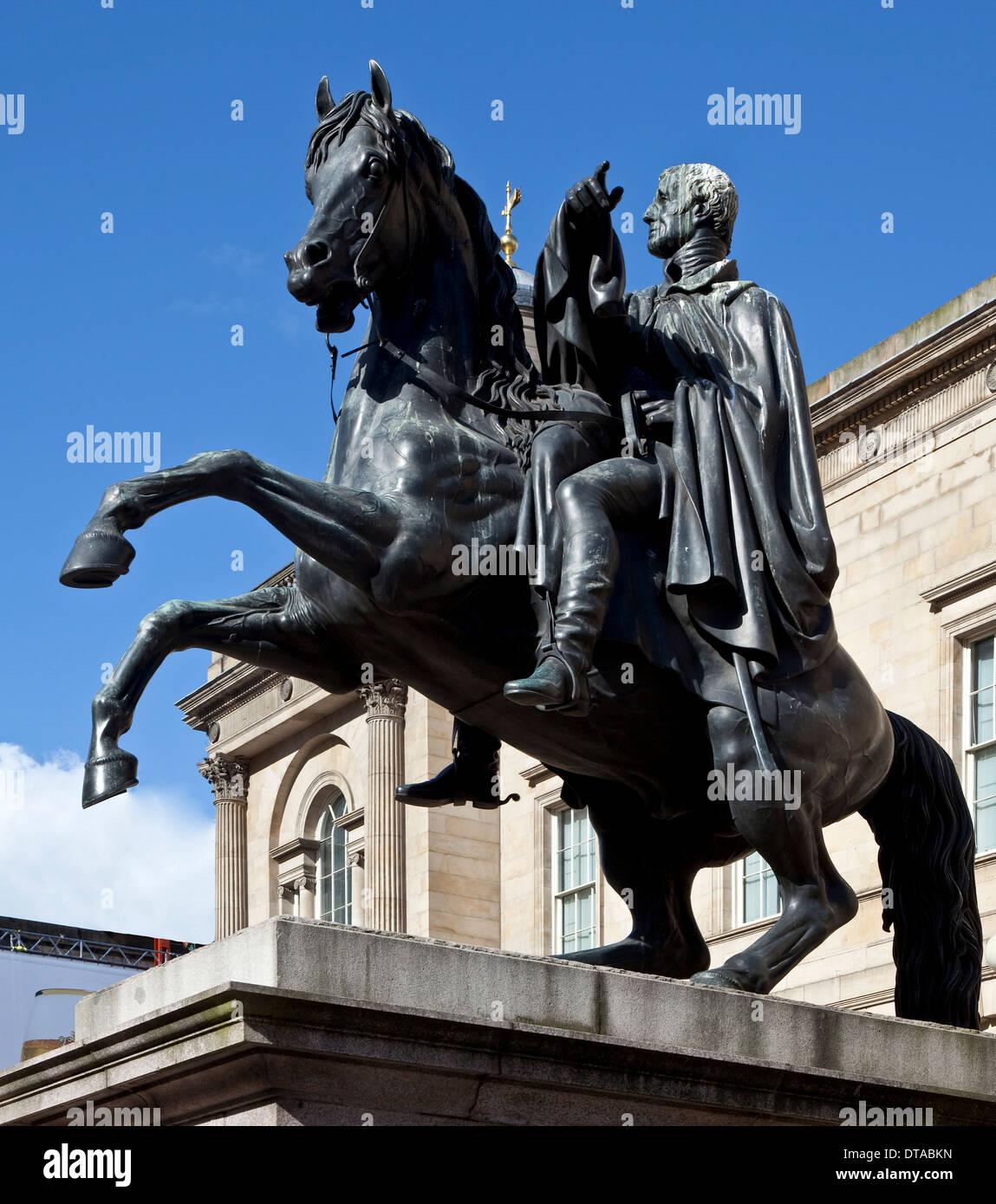 Edinburgh, Reiterstandbild Wellington - Stock Image