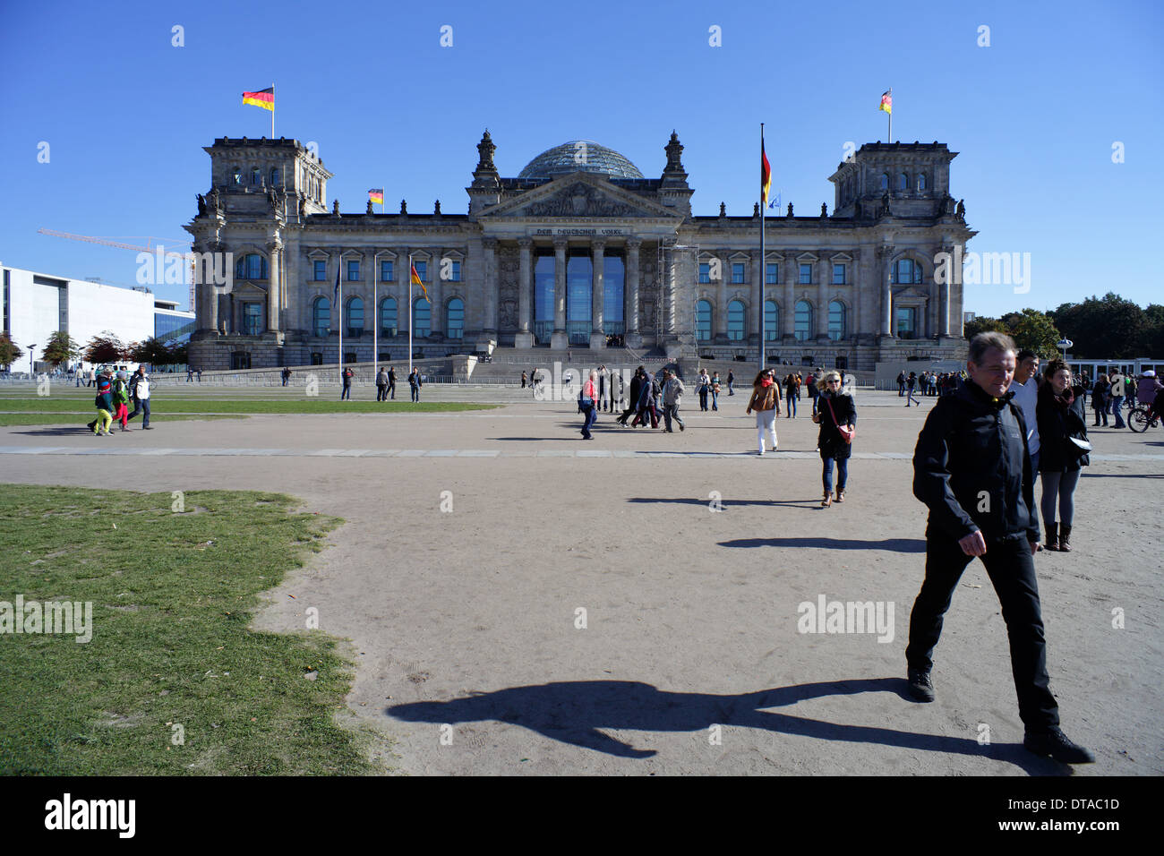 Berlin, Germany, passers-by on the Republic Square in front of the Reichstag Stock Photo