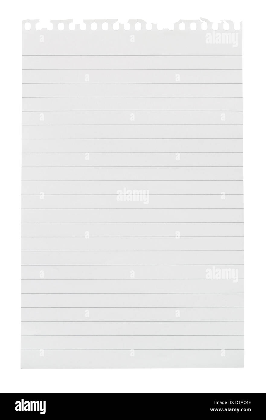 Sheet of lined note paper torn from a note pad isolated against a white background - Stock Image
