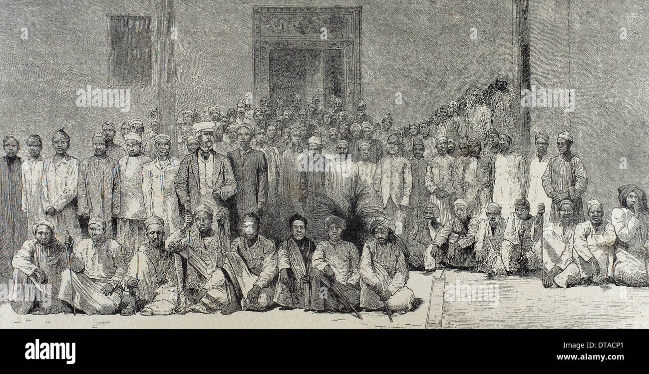 Henry Morton Stanley (1841-1904), British explorer, and his companions return from the expedition to the interior of Africa. - Stock Image