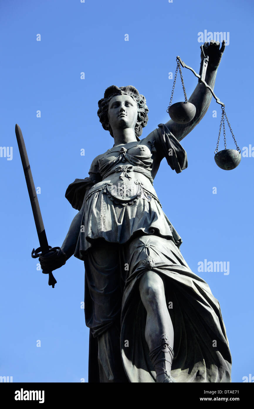 Frankfurt / Main, Germany, the figure of Justice on the Justitia Fountain - Stock Image