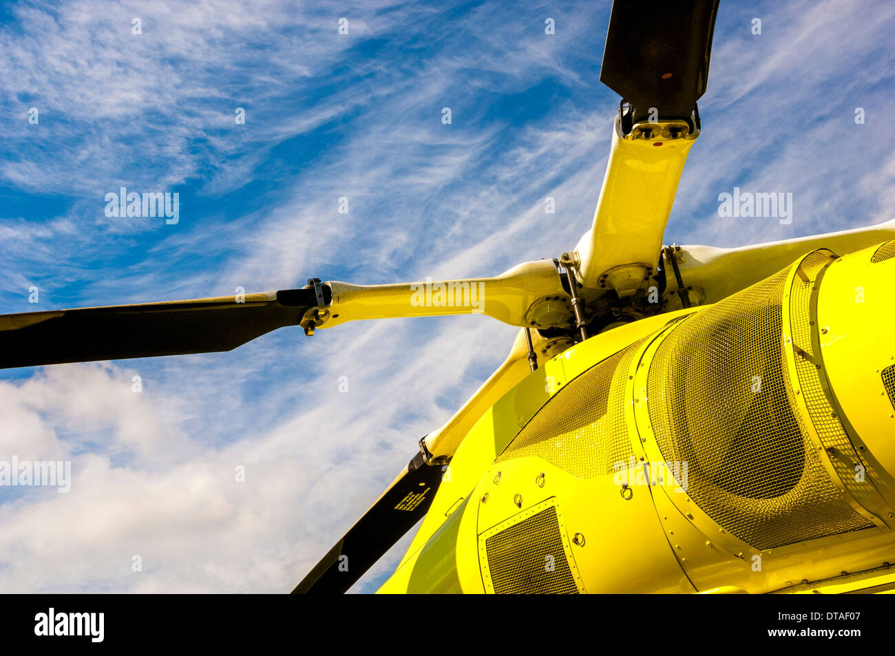 Rotor blades on Yorkshire Air Ambulance helicopter - Stock Image