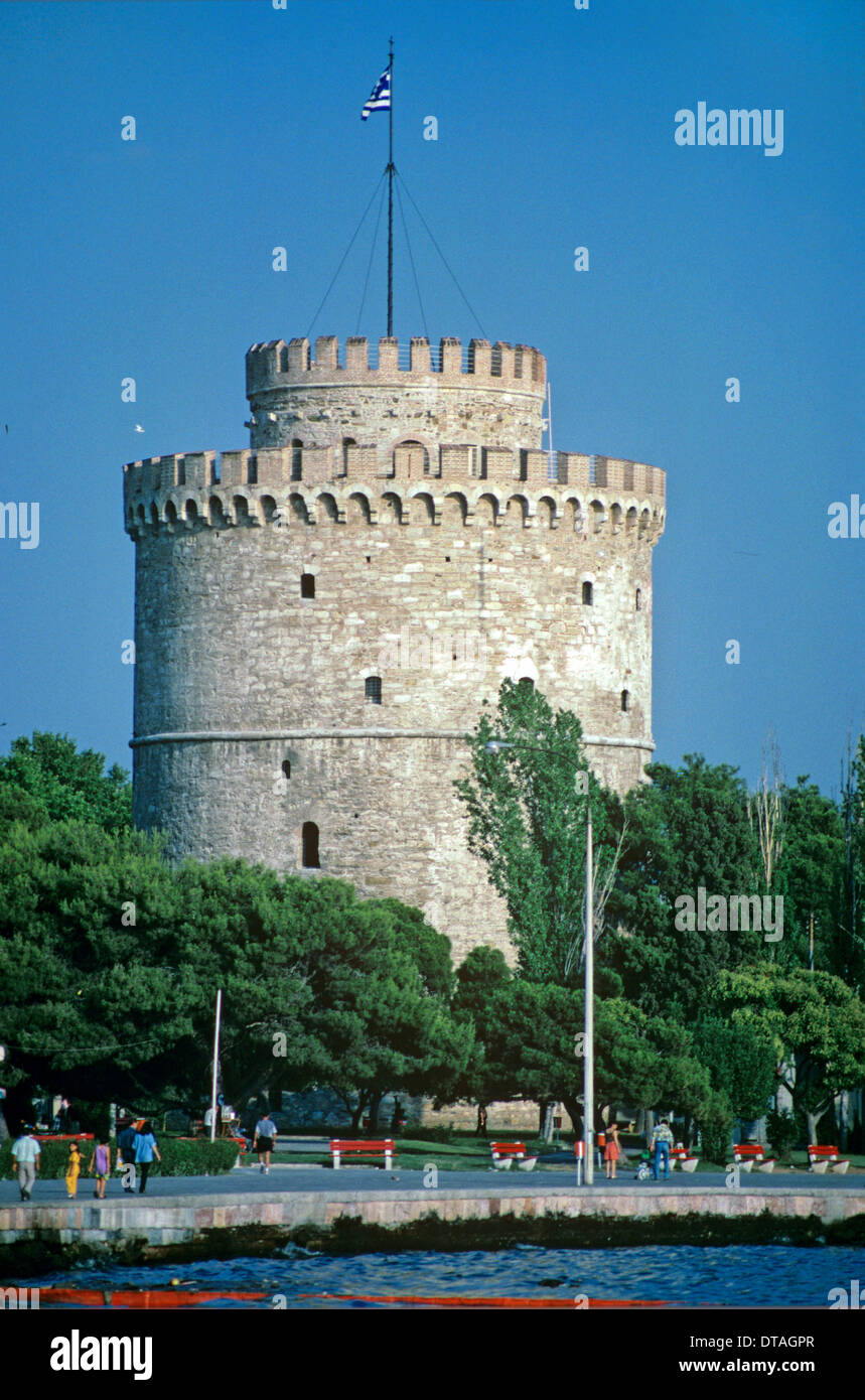 Venetian White Tower on Seafront or Waterfront Thessaloniki Greece - Stock Image