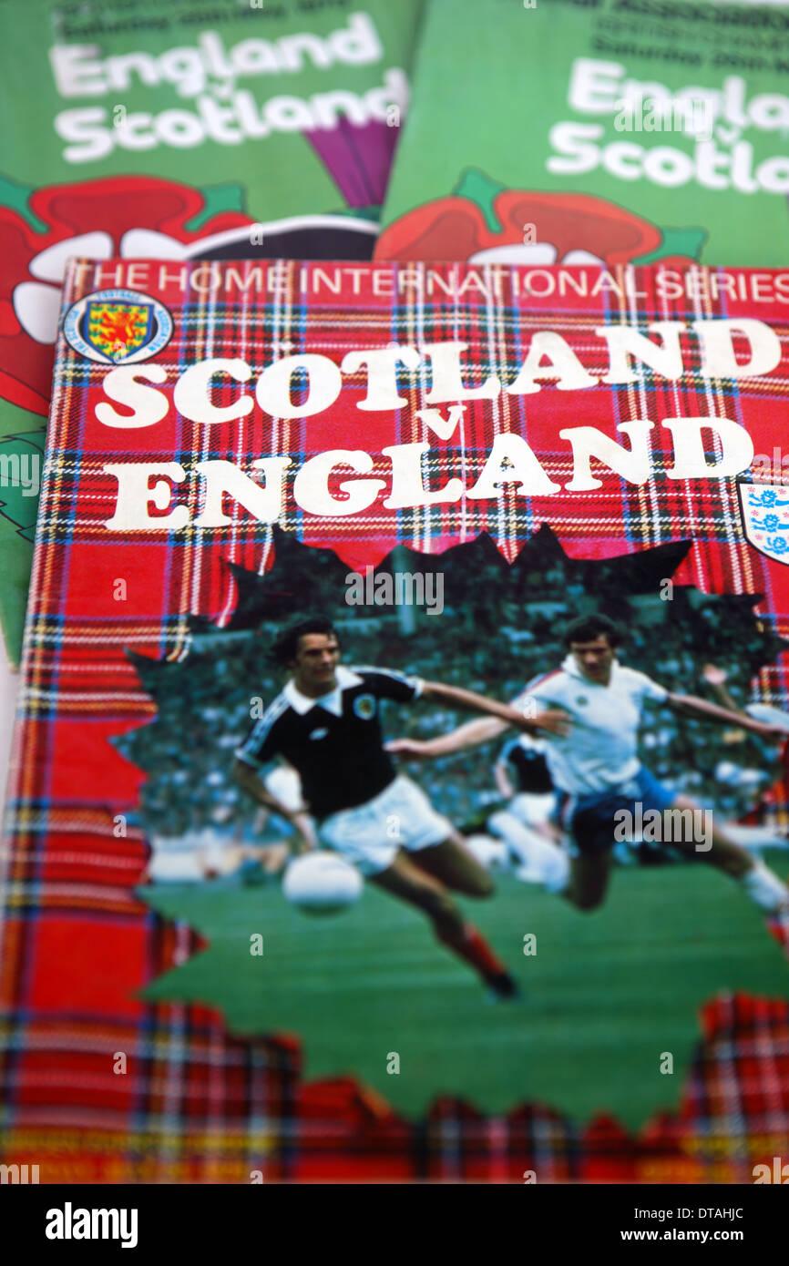 Scotland versus England football programmes - Stock Image