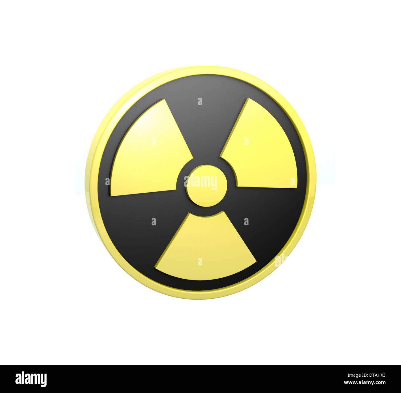 3D radiation sign with highlights isolated on a white background. - Stock Image
