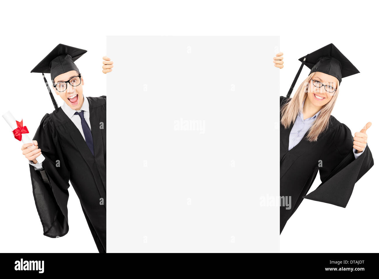 Young man in graduation gown holding diploma and a girl giving thumb ...