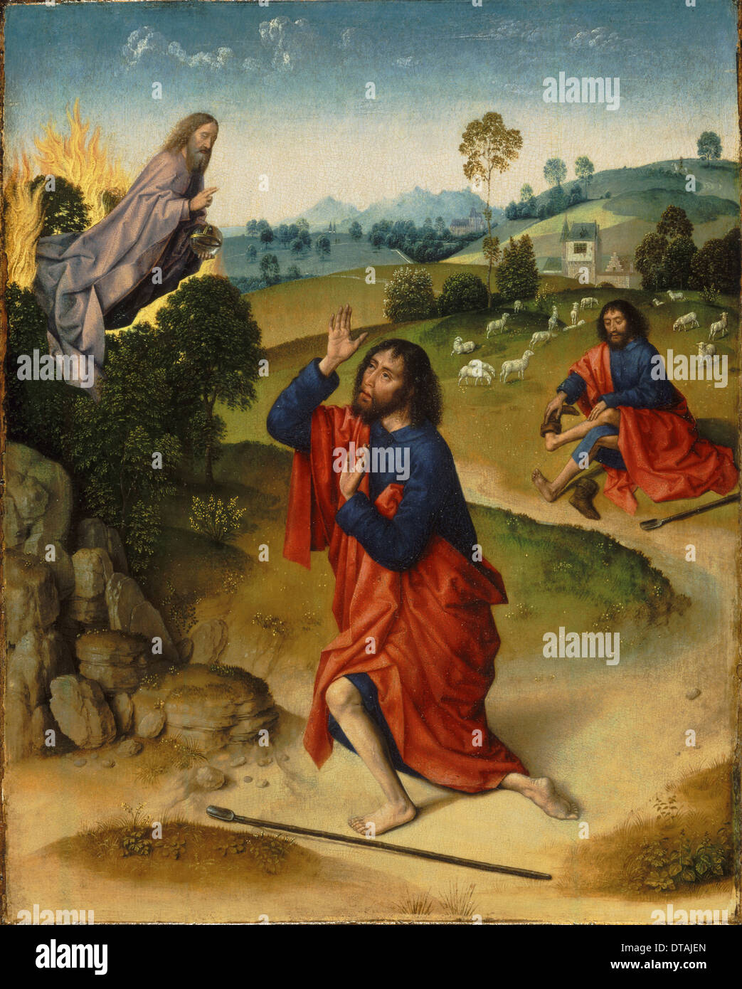 Moses and the Burning Bush, with Moses Removing His Shoes, ca 1465. Artist: Bouts, Dirk (1410/20-1475) - Stock Image