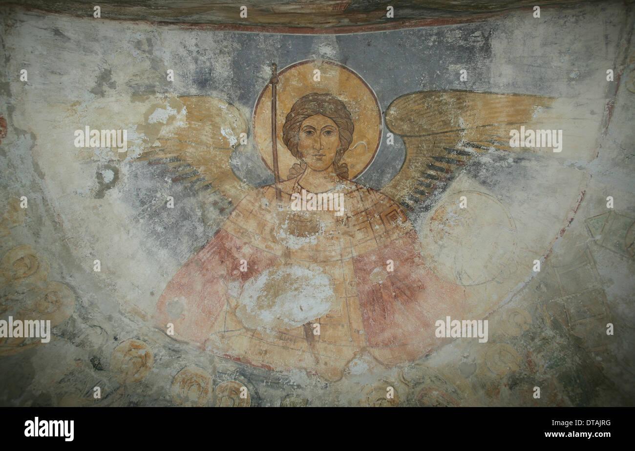 Saint Michael the Archangel, 12th century. Artist: Ancient Russian frescos - Stock Image