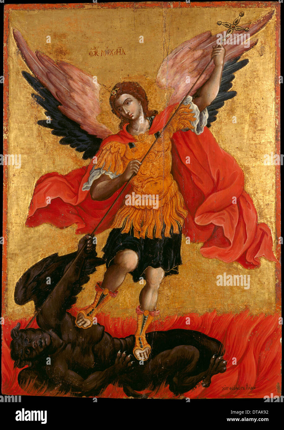 The Archangel Michael, Second Half of the 17th cen.. Artist: Poulakis, Theodore (1622-1692) - Stock Image