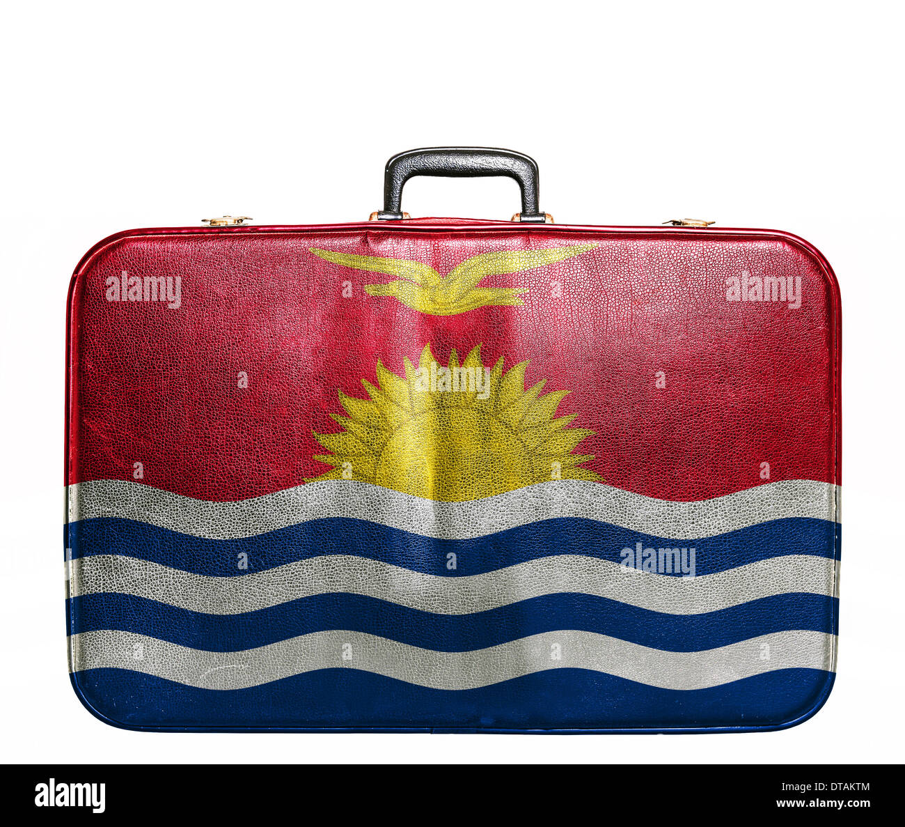 Vintage travel bag with flag of Kiribati - Stock Image