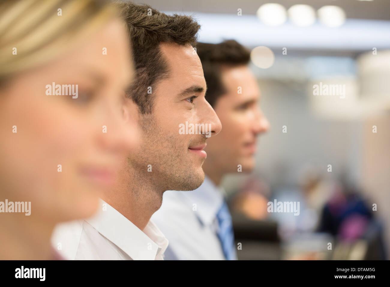 Woman men group office profile line - Stock Image