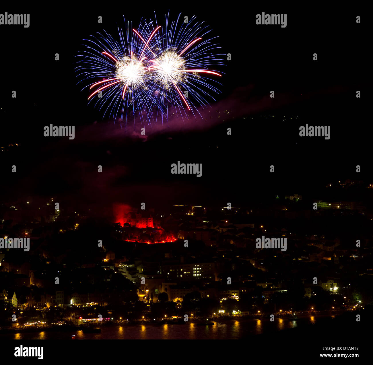 Fireworks over the Rhine river with illuminated castle - Stock Image