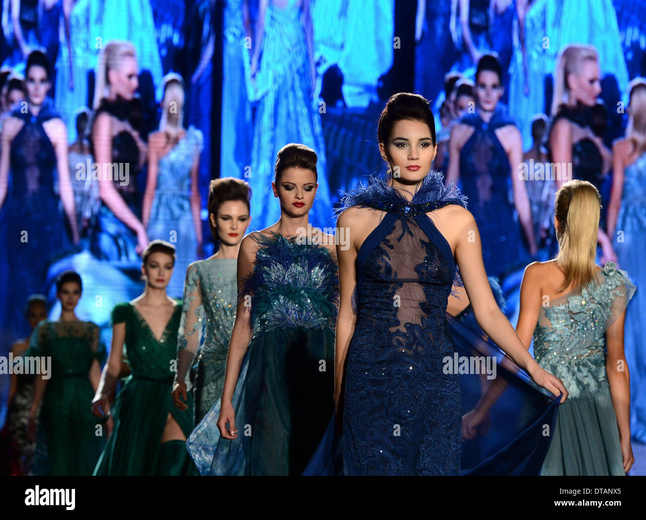 Prague, Czech Republic . 13th Feb, 2014. A model walks the runway during a dress rehearsal for the Blanka Matragi's - Stock Image