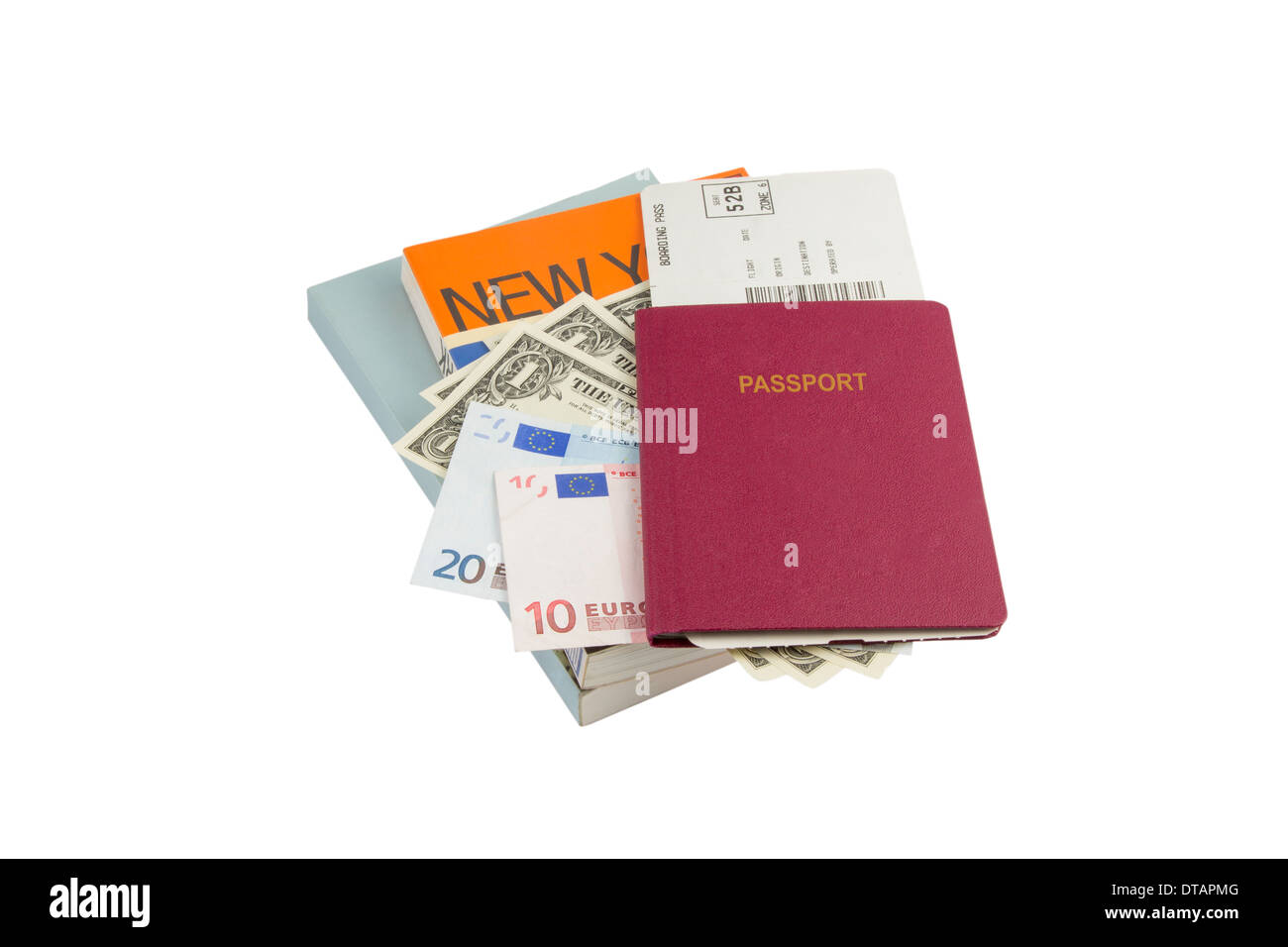 Neutral red Passport Books Flight Ticket Dollar and Euro Money as carry-on baggage of an traveler - Stock Image