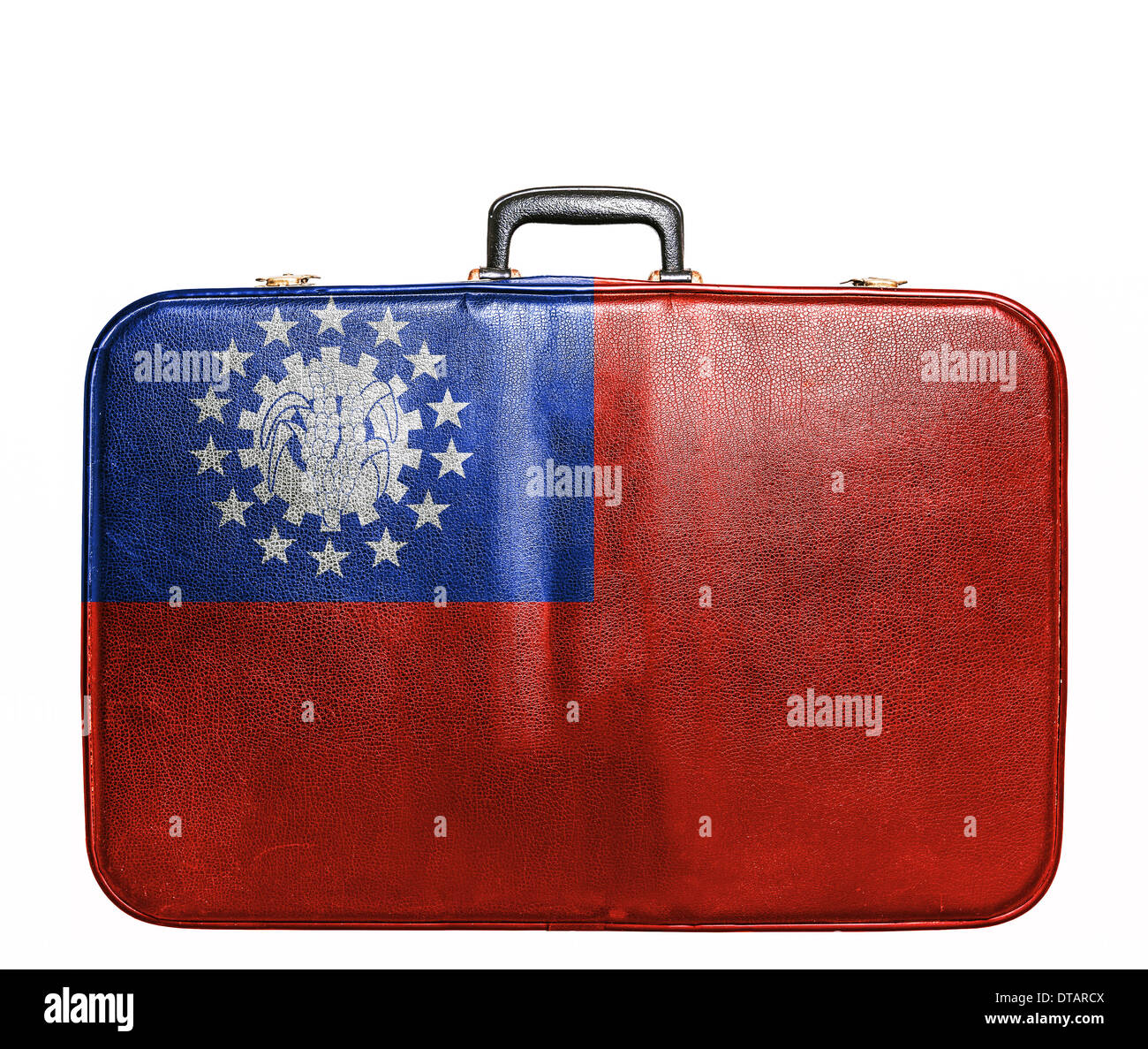 Vintage travel bag with flag of Myanmar Stock Photo