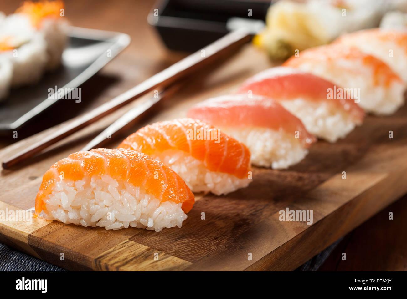 Healthy Japanese Nigiri Sushi with Rice and Fish - Stock Image