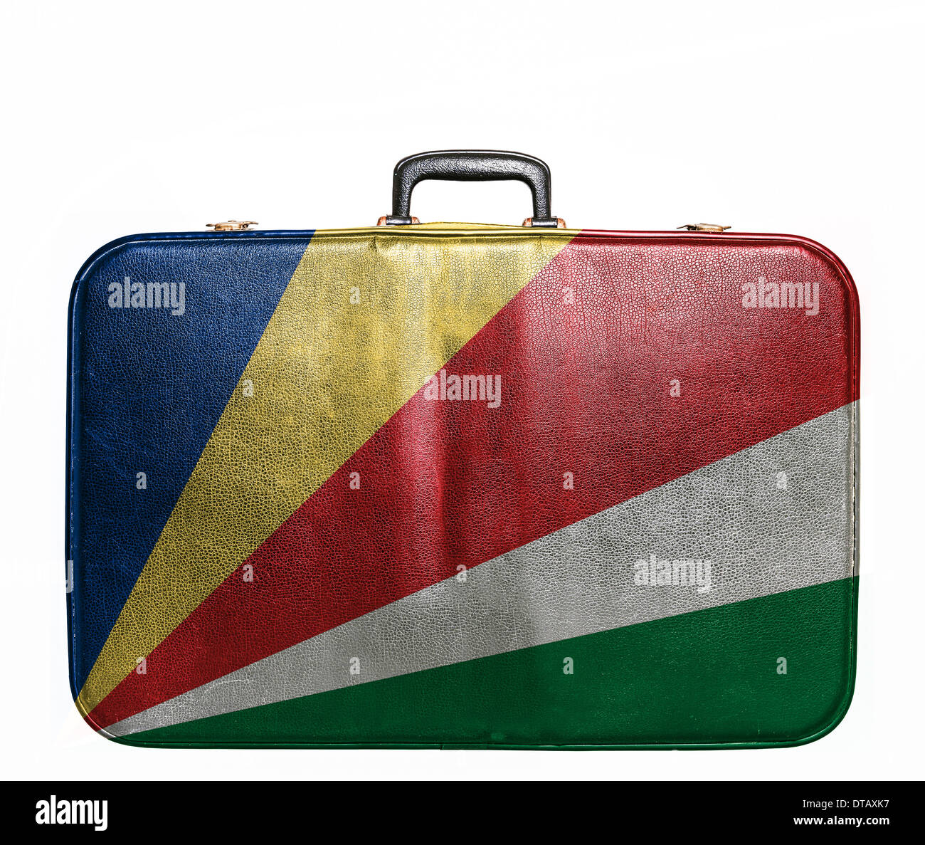 Vintage travel bag with flag of Seychelles - Stock Image