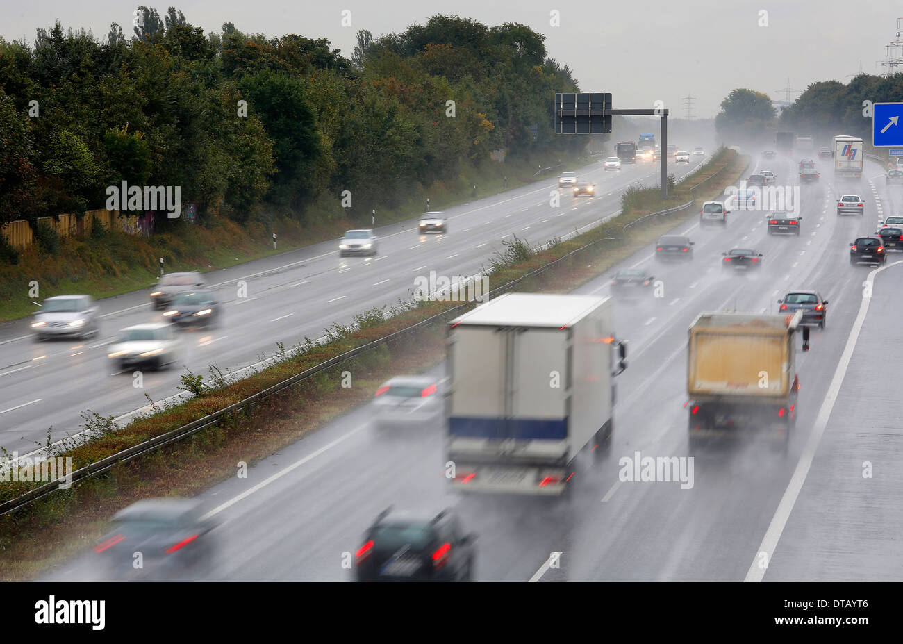 Oberhausen, Germany, rain-slicked highway Stock Photo