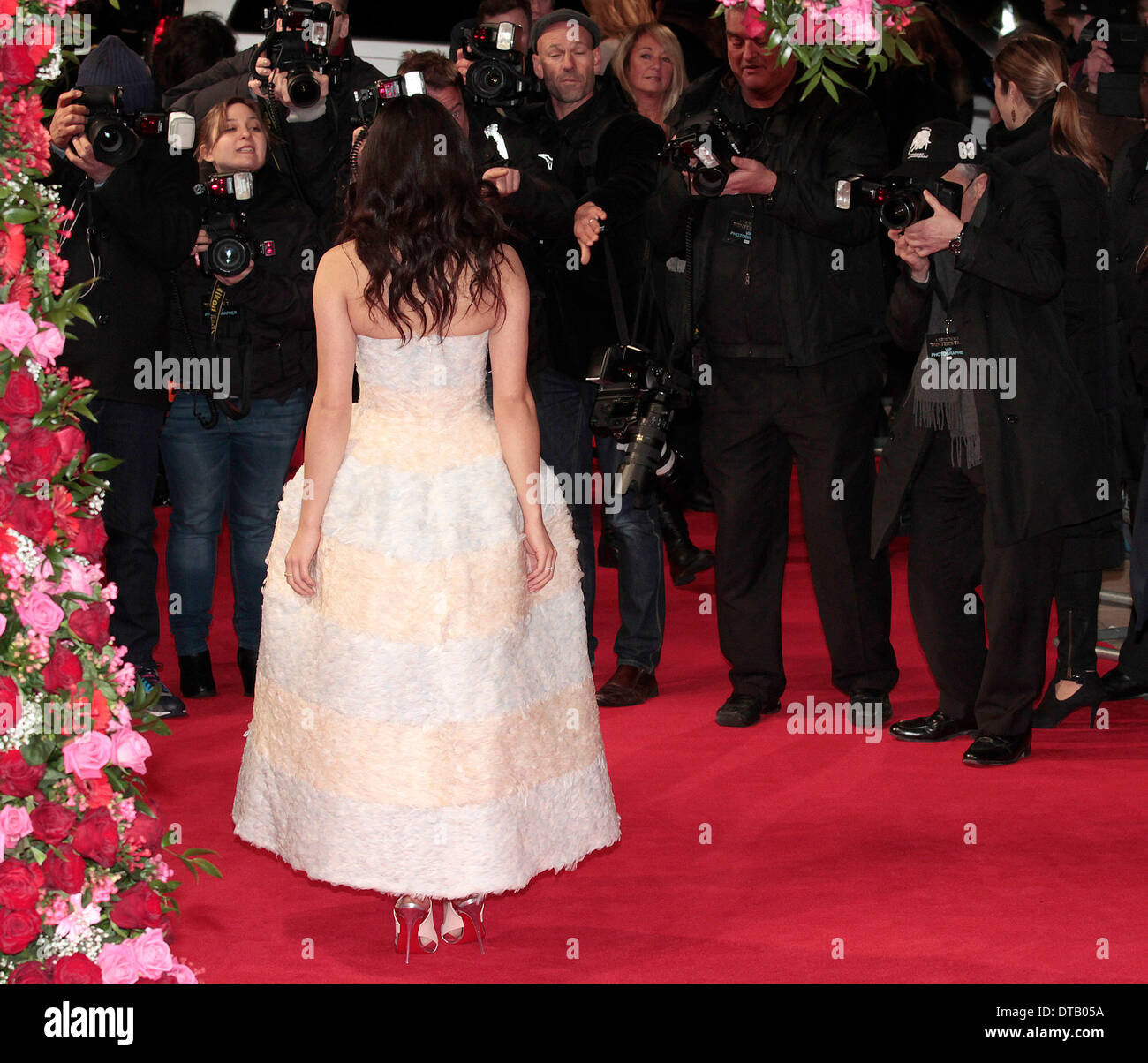 London, UK, 13th February 2014 Jessica Brown Findlay arrives at the UK Premiere of 'A New York Winter's Tale' at the Odeon Cinema at Kensington High Street in London  Credit:  MRP/Alamy Live News - Stock Image