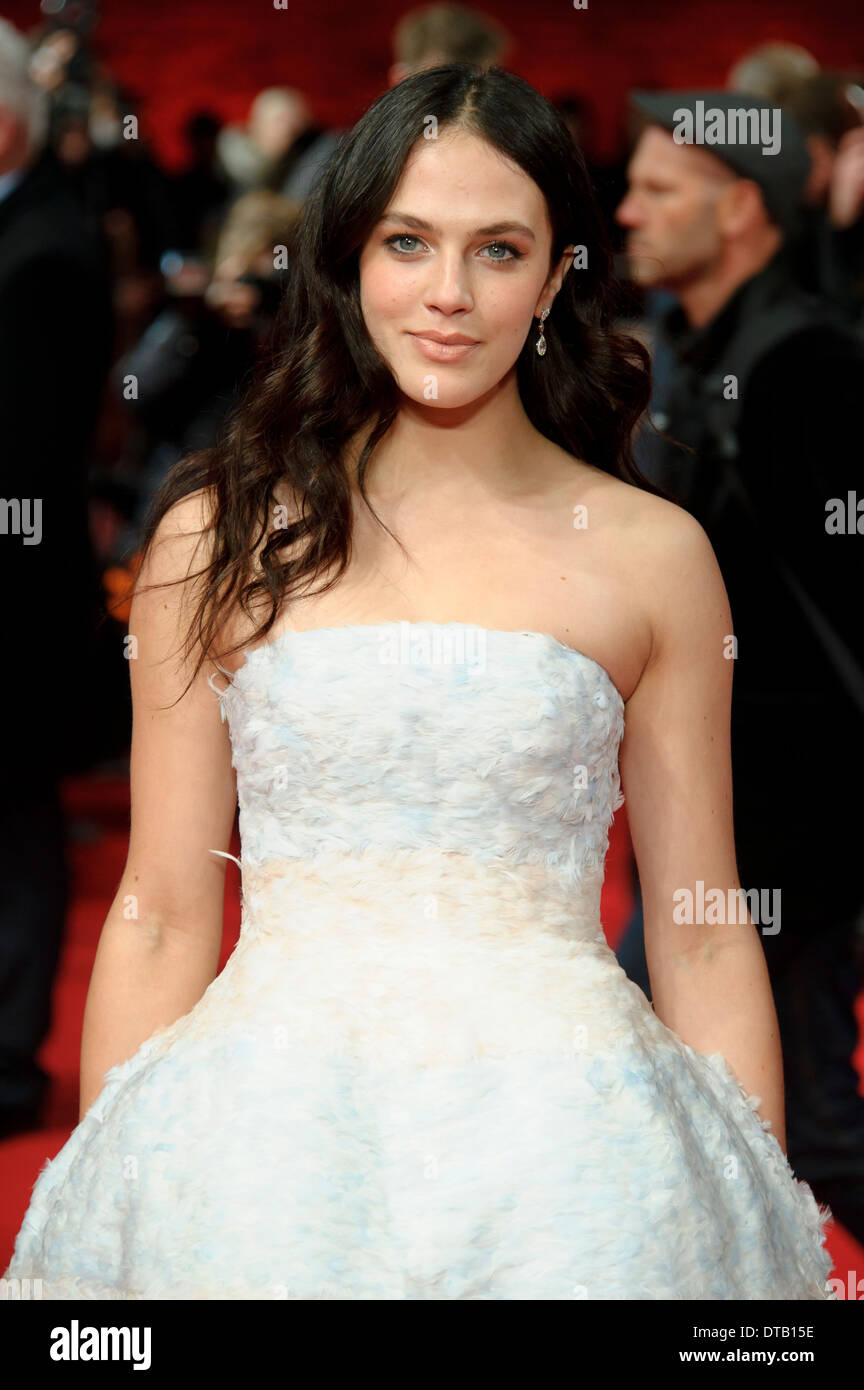 Jessica Brown Findlay arrives for the premiere of A New York Winter's Tale at a central London cinema, London. - Stock Image