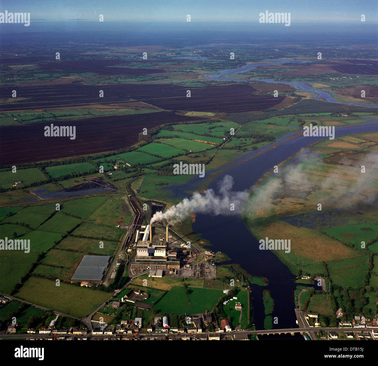 Vintage Image Circa 1970:  Lanesborough Turf (Peat) Burning Power Station, County Longford, Ireland - Stock Image
