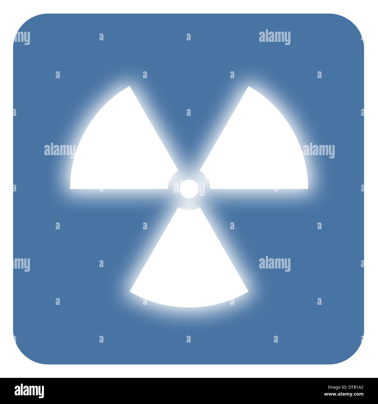 Nuclear radiation symbol on a blue background. Simple Flat design. Stock Photo