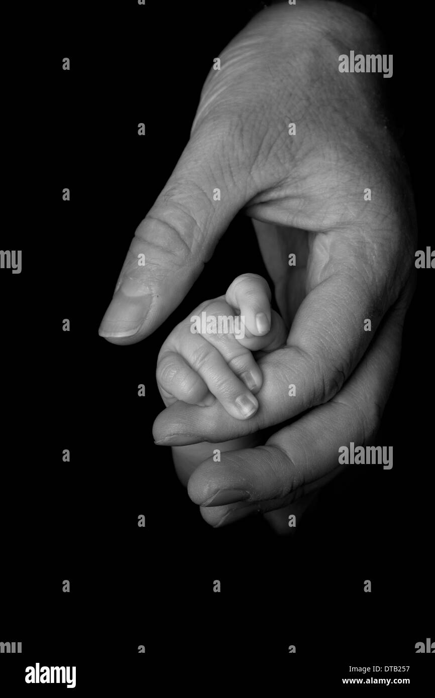 Baby holding father's hand, close up shot in black and white against a black / low key background - Stock Image