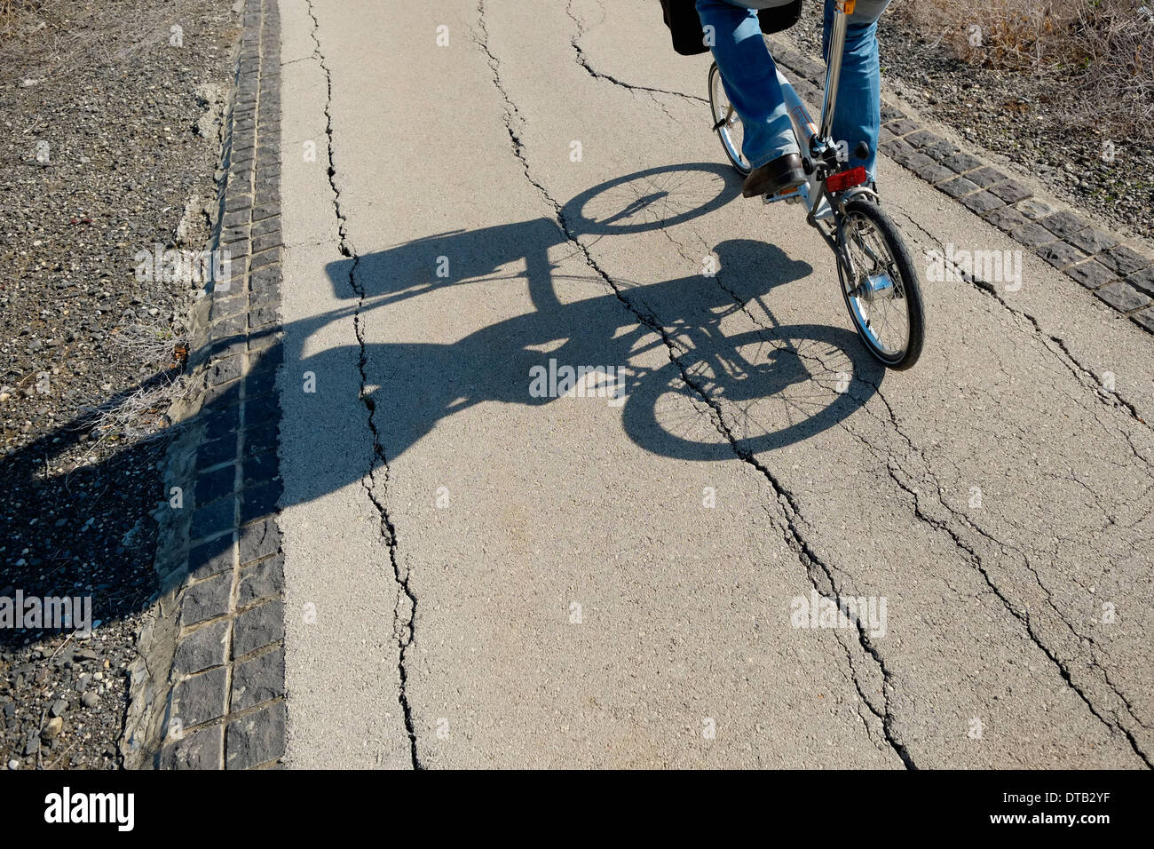 A bicycler casts a shadow in timeworn asphalt in the Galilee area northern Israel - Stock Image