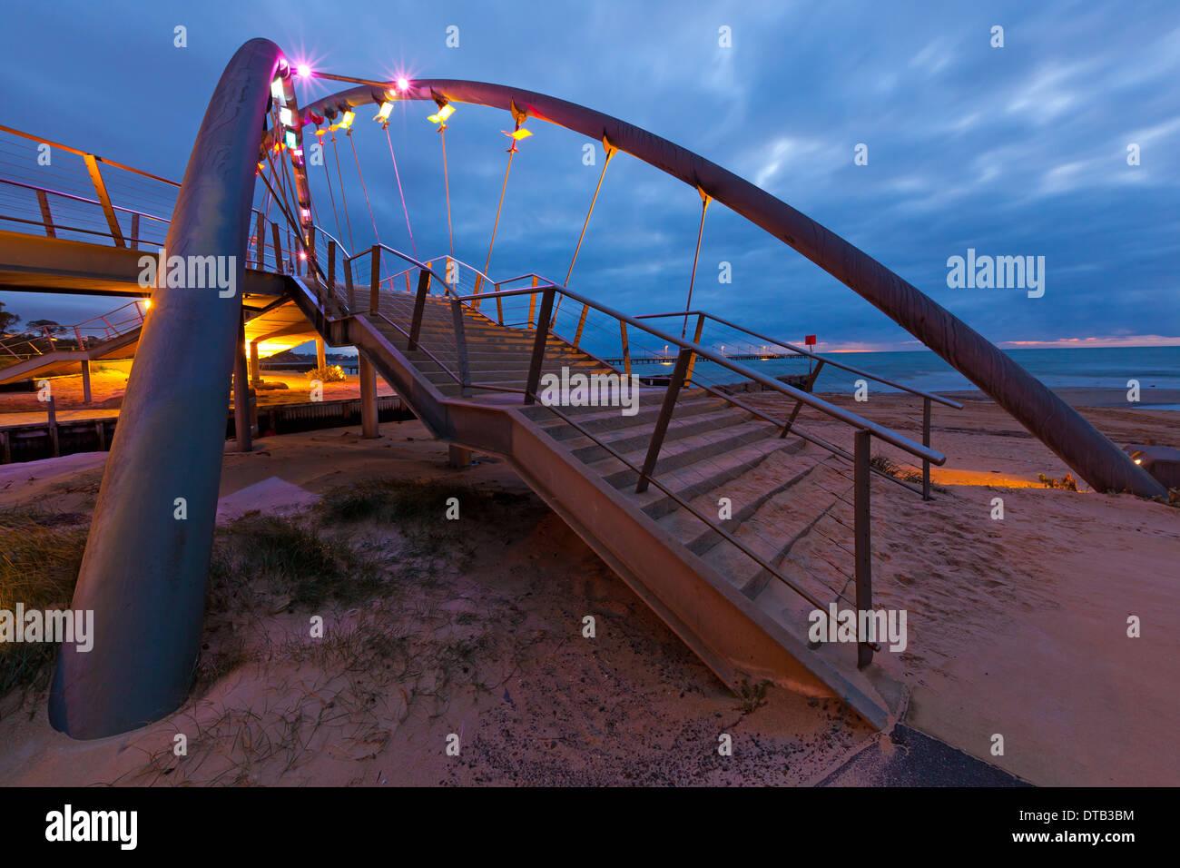 night scape night foot bridge lights Frankston Victoria Australia - Stock Image