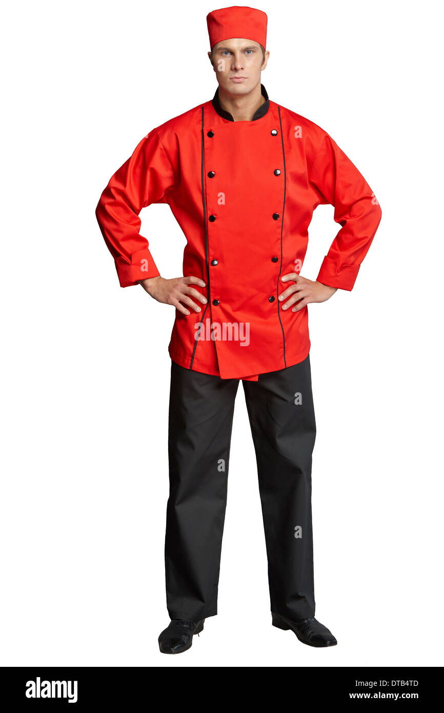 Young man in the form of a waiter or chef, white, red shirt, sunglasses, headdress chef Stock Photo