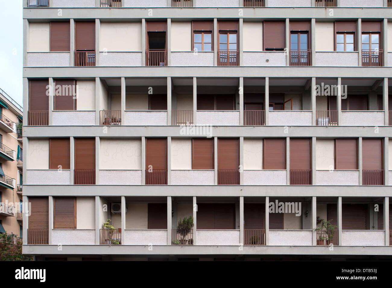 Genoa, Italy, residential buildings in Via Oreste De Gaspari 21 - Stock Image