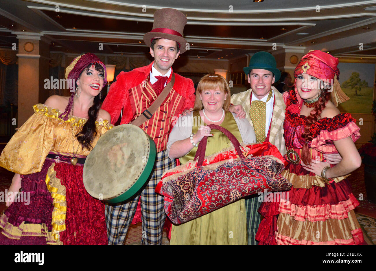 Victorian musical entertainers with passenger on-board Cunard 'Queen Victoria' cruise ship, Mediterranean Sea, Europe - Stock Image