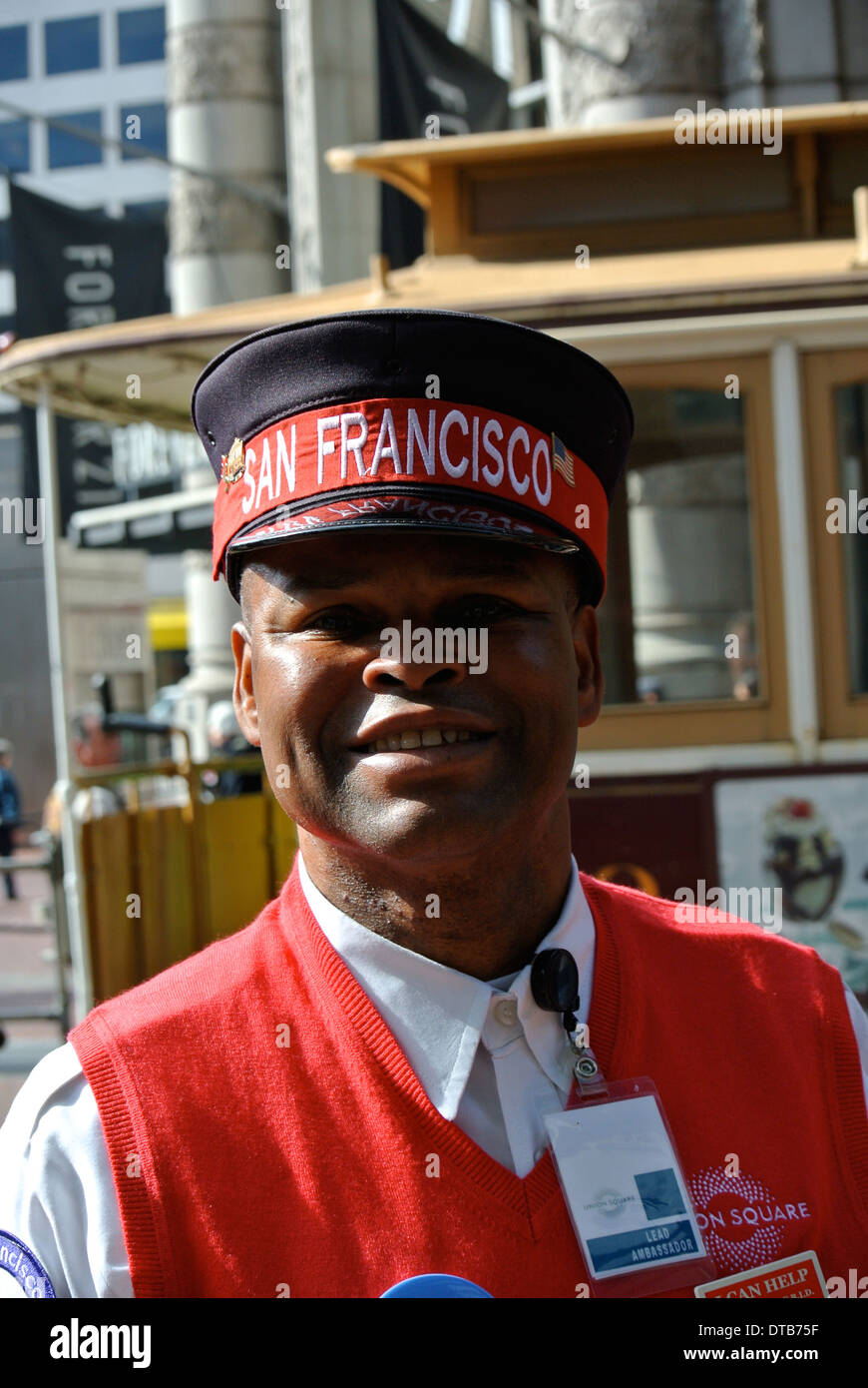 wayne lead ambassador for union square bid poses for camera at the Wowell st. promenade in San Francisco - Stock Image