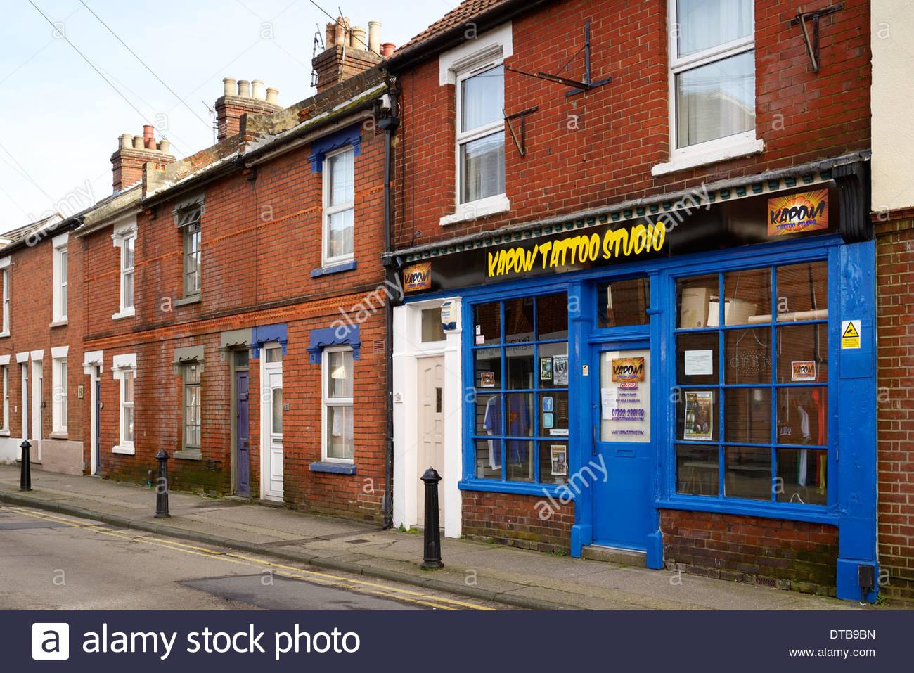Kapow Tattoo Studio, Pennyfarthing Street, Salisbury, Wiltshire, England UK - Stock Image
