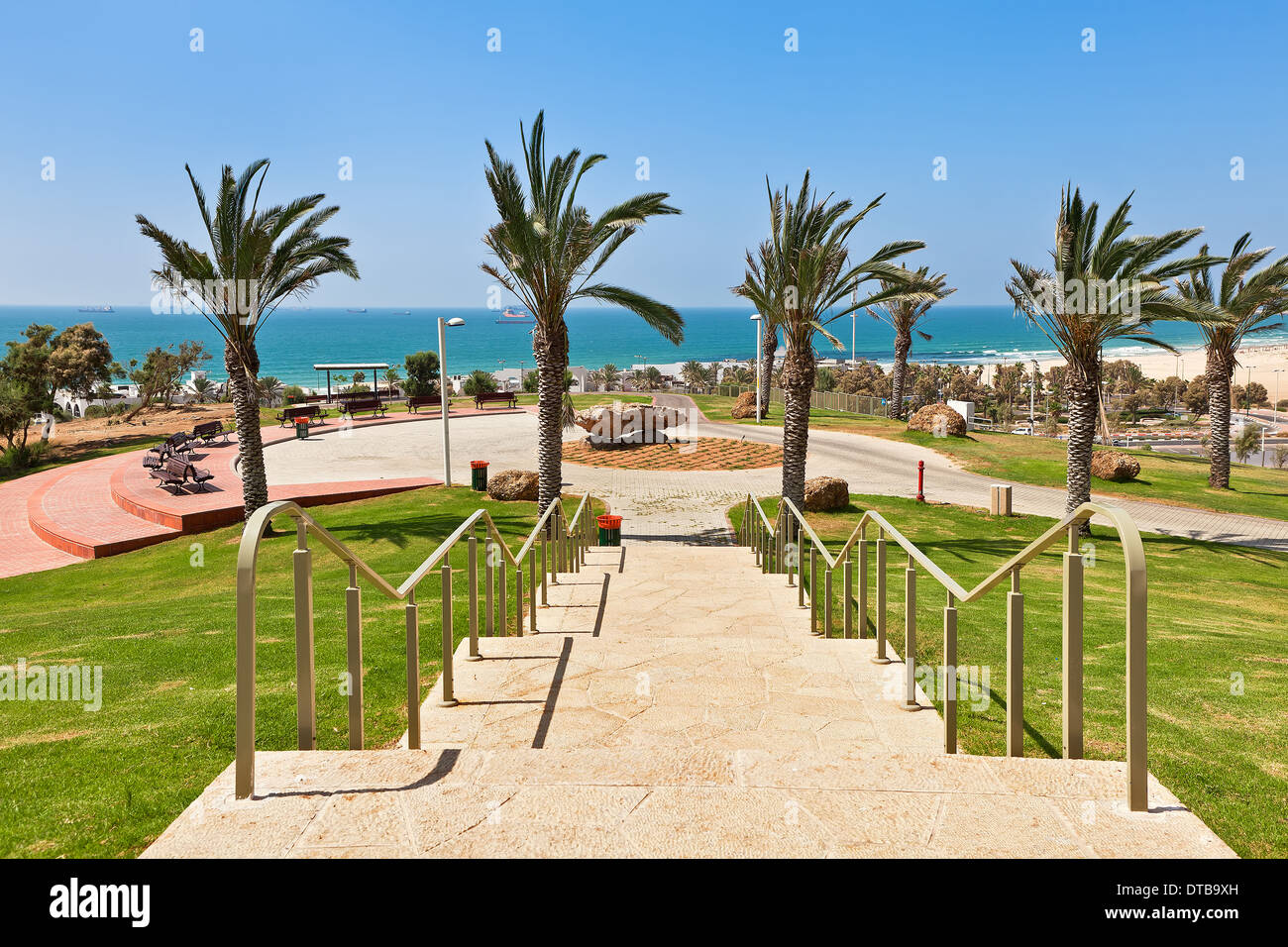Stone stairs in urban park with beautiful view on Mediterranean sea in Ashdod, Israel. - Stock Image