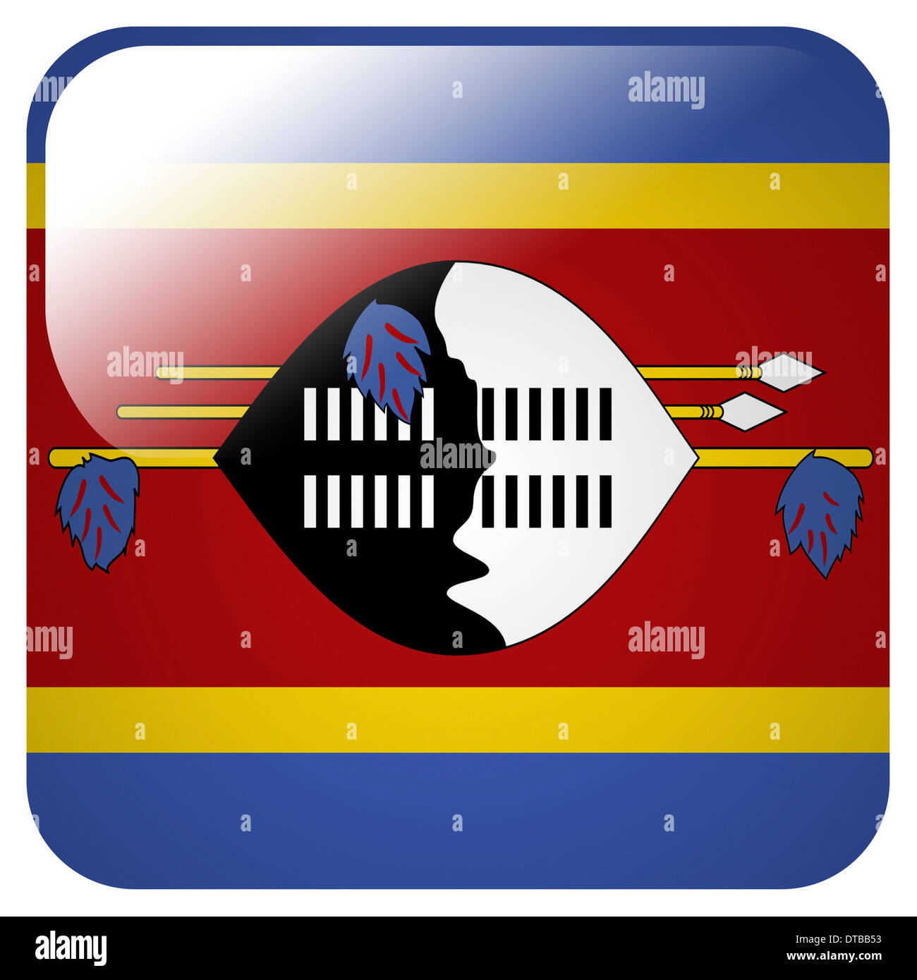 Glossy icon with flag of Swaziland Stock Photo