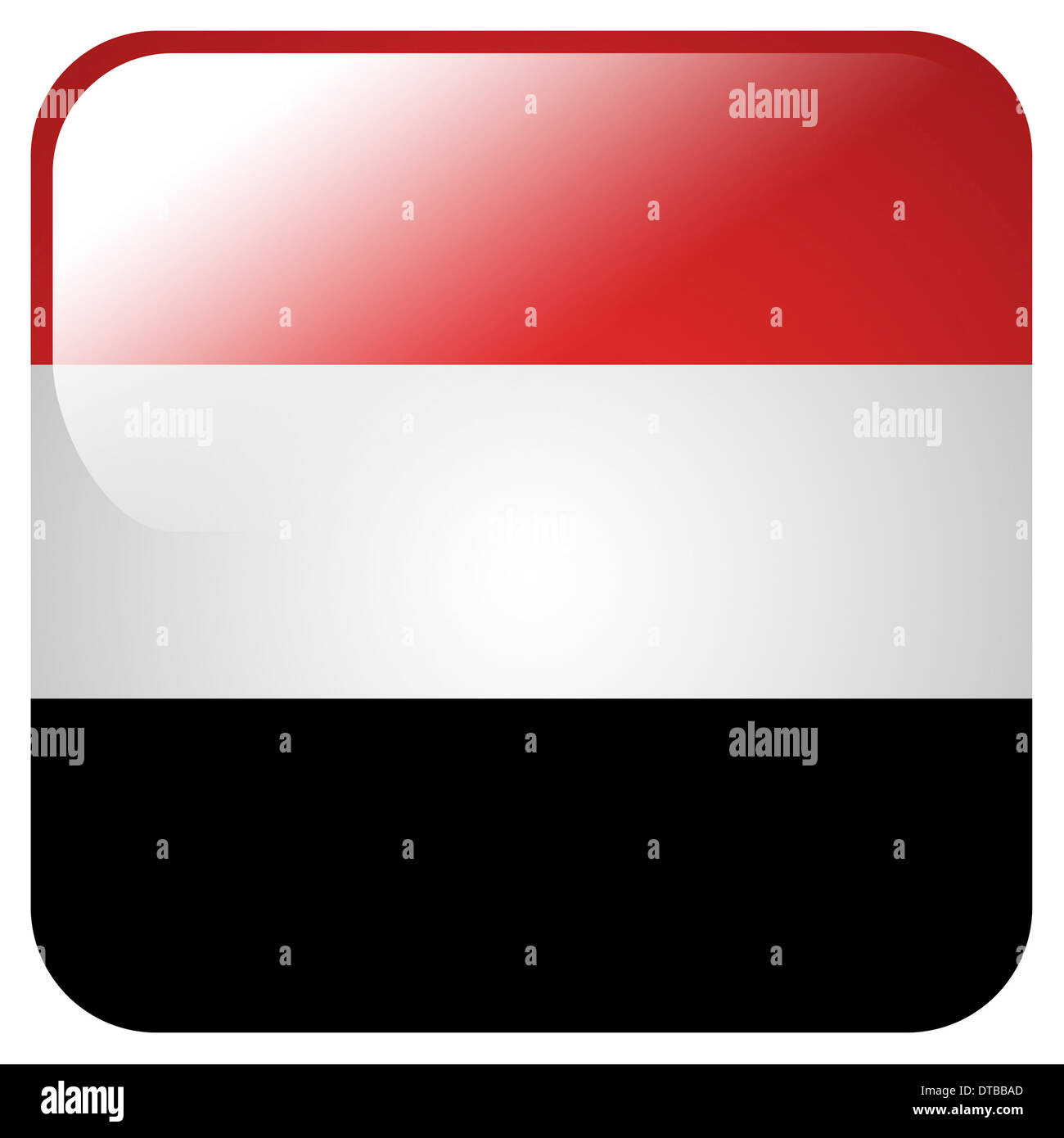 Glossy icon with flag of Yemen - Stock Image