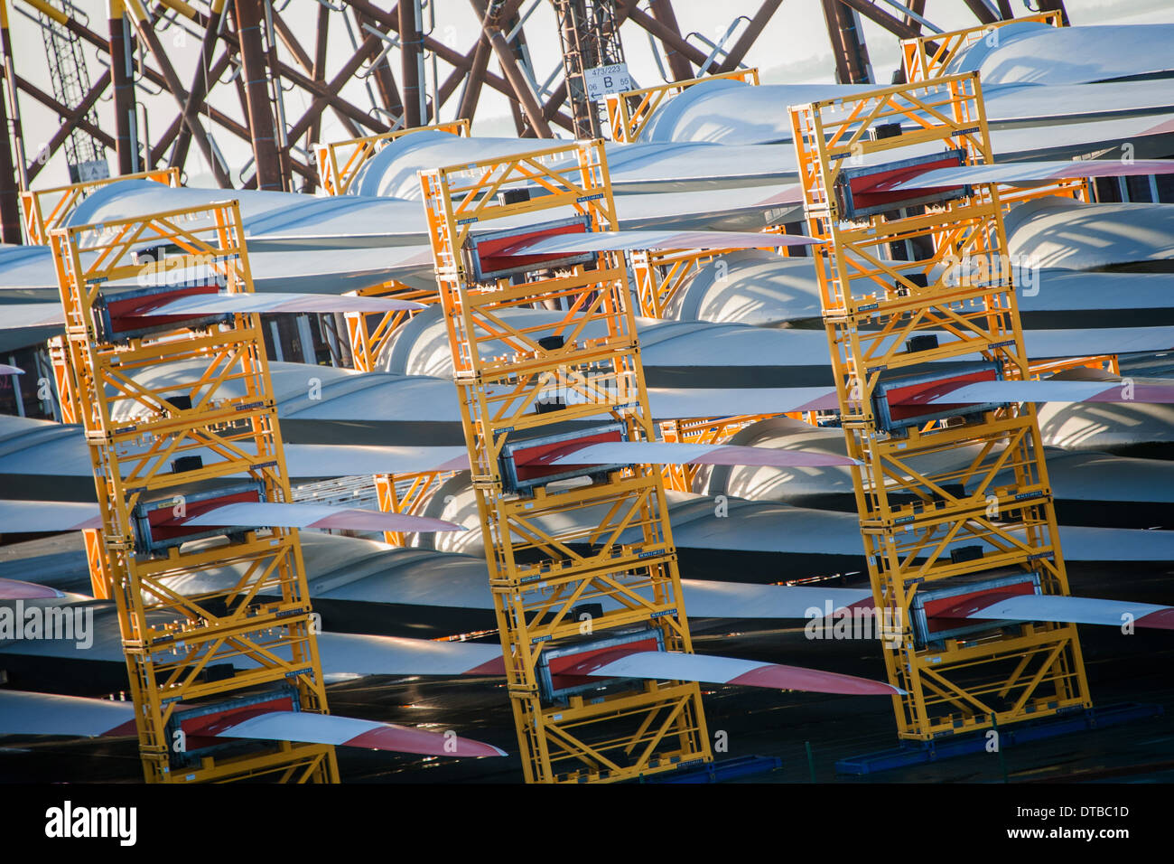 Bremerhaven, Germany , components of offshore wind bikes stored in the port Stock Photo