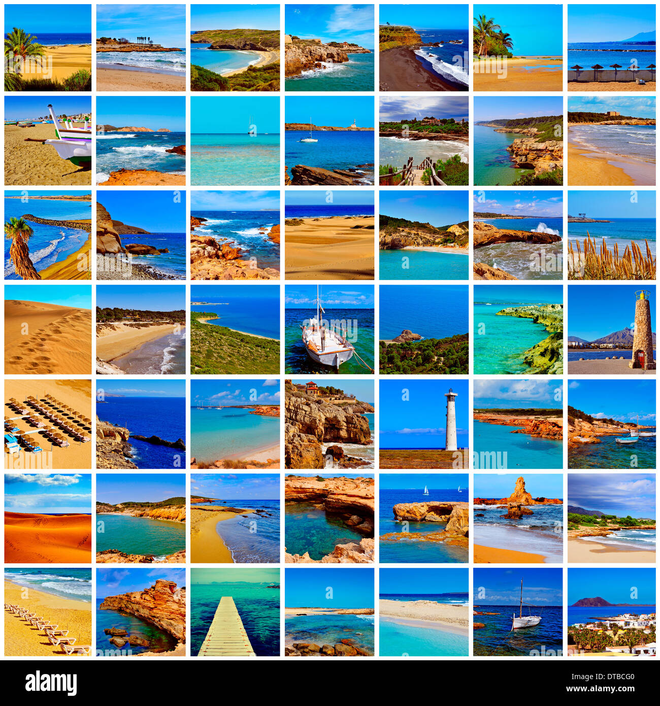 a collage of different spanish beaches, in the mainland and in the Balearic Islands and the Canary Islands - Stock Image