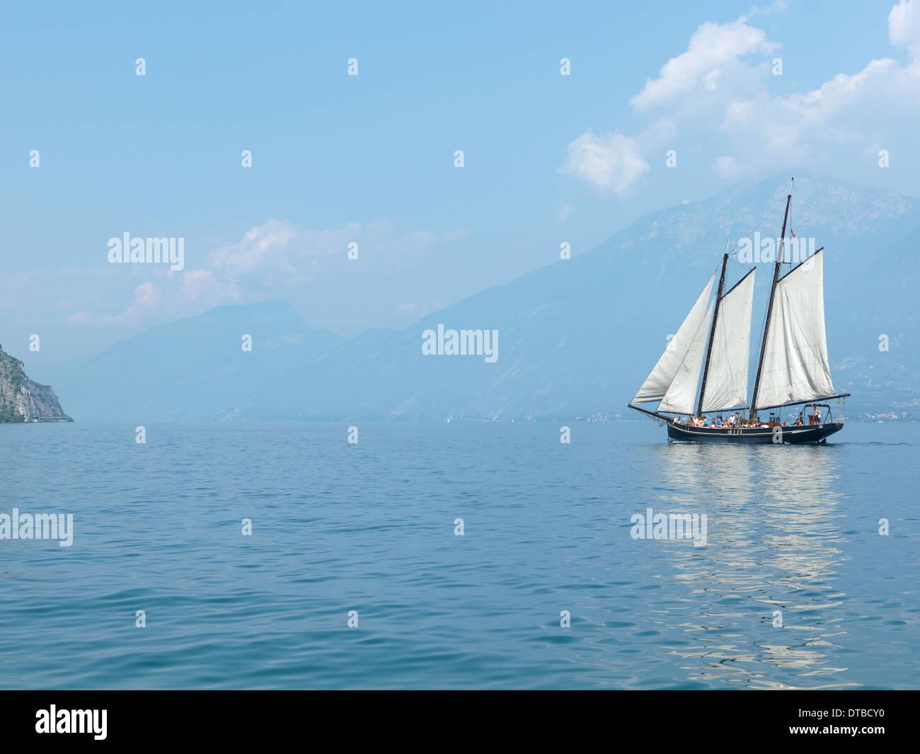 Tremosine , Italy, Two Master Sailboat on Lake Garda Stock Photo